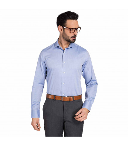 Blue Herringbone Fabric Classic Fit Dress Shirt 100% cotton