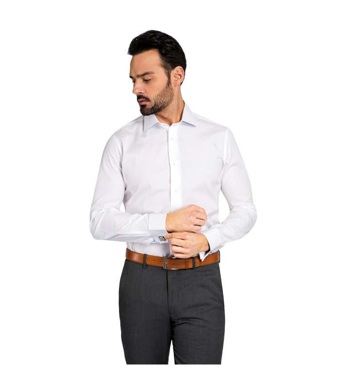 Non iron slim fit white dress shirt crafted in egyptian cotton White french cuff shirt slim fit