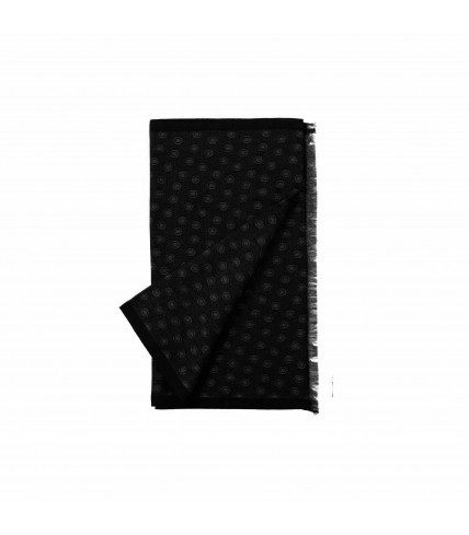 Beige silk and wool scarf with squares - Black