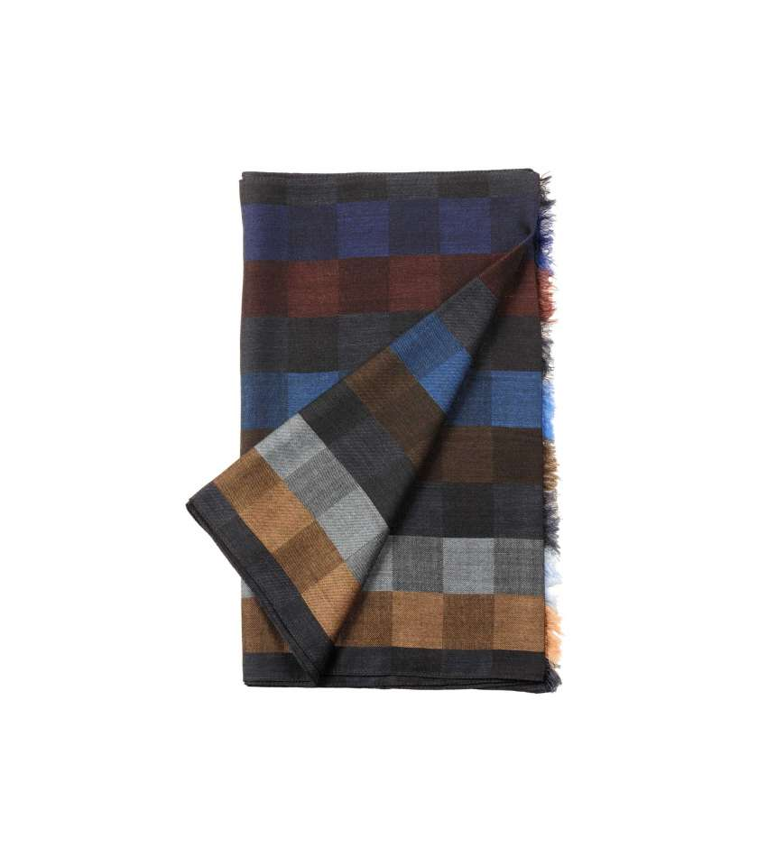 Beige silk and wool scarf with squares