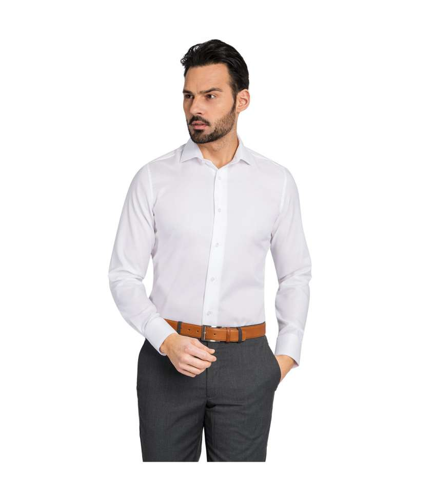 White Slim Fit Dress Shirt Crafted In Egyptian Cotton