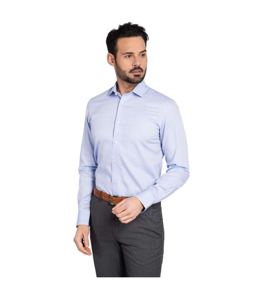 Sky Blue Slim Fit Dress Shirt Crafted In Non Iron Cotton