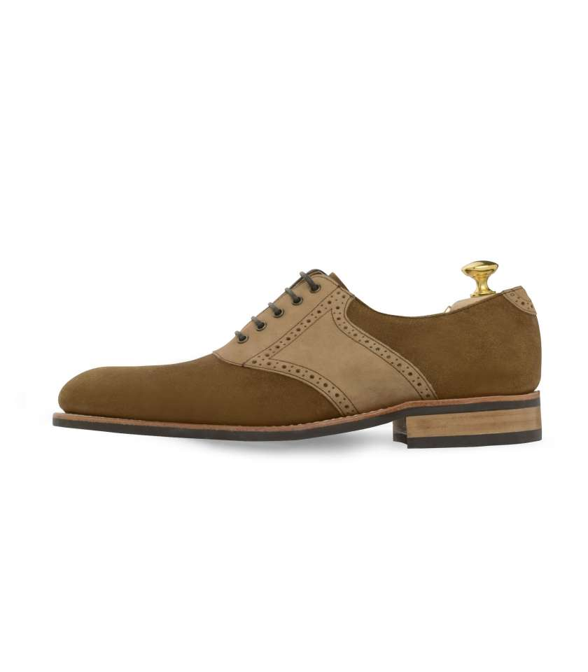 suede and calf leather saddle oxford shoes
