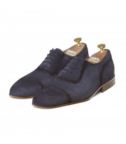 Suede Oxford Shoes with straight toe-cap 1011 Ajaccio - Navy