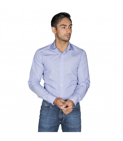 Non Iron Blue Gingham Tiles Slim fit dress shirt of cotton
